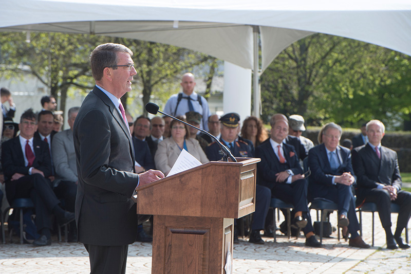 Defense Secretary Ash Carter addressing the audience during the U.S. European Command change-of-command ceremony.