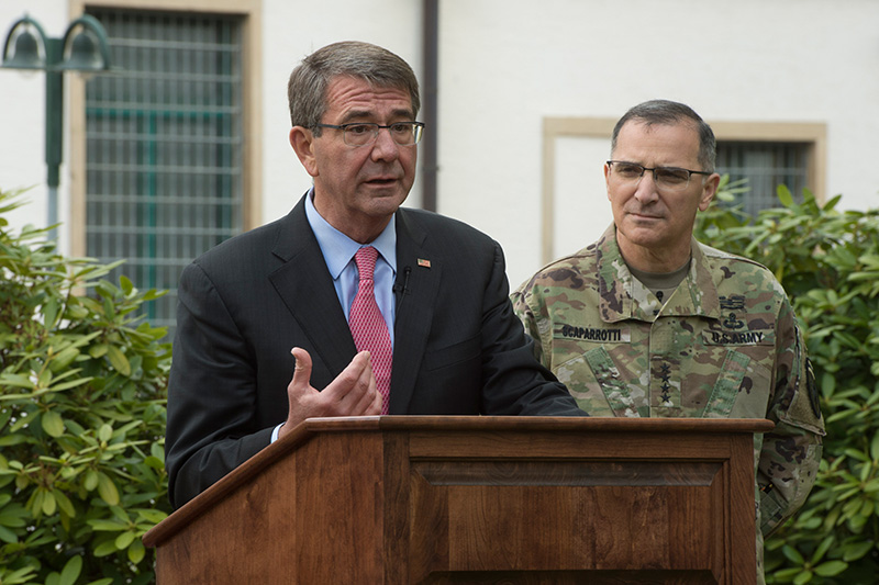 Defense Secretary Ash Carter addressing reporters.