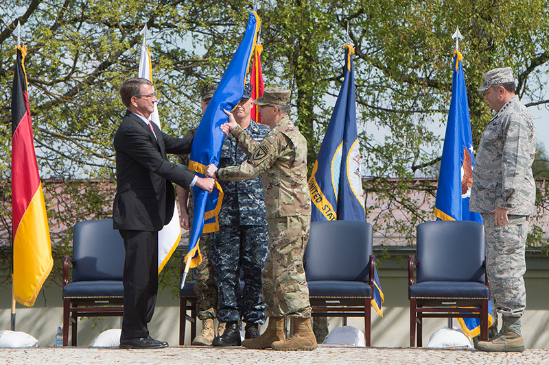 Defense Secretary Ash Carter officially changing command of U.S. European Command.