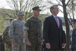 Defense Secretary Ash Carter leading the official party at U.S. European Command's change-of-command ceremony.
