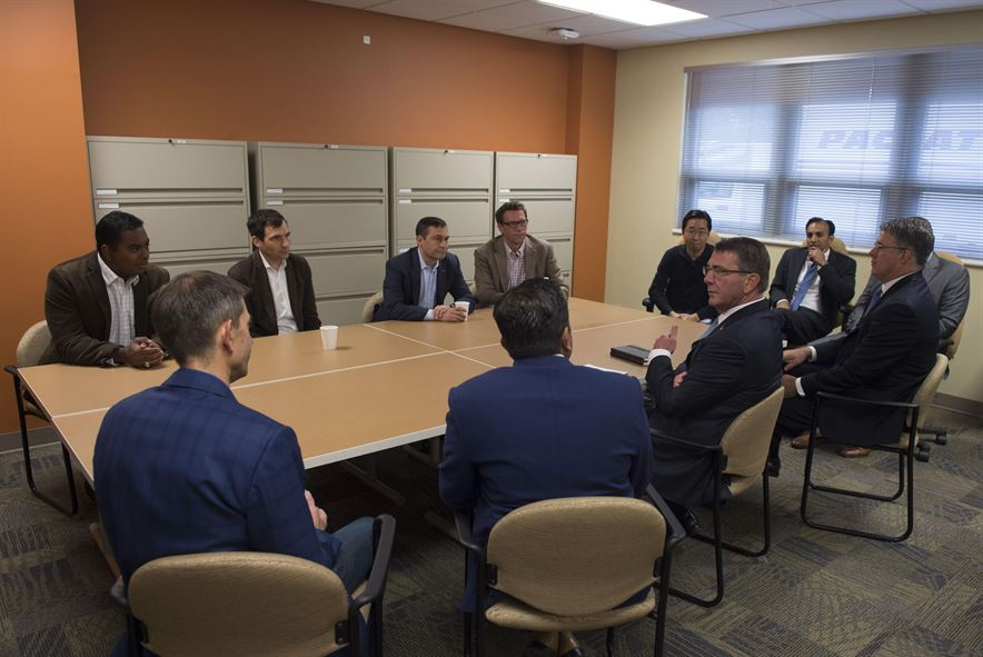 Defense Secretary Ash Carter speaks with Defense Innovation Unit Experimental leaders