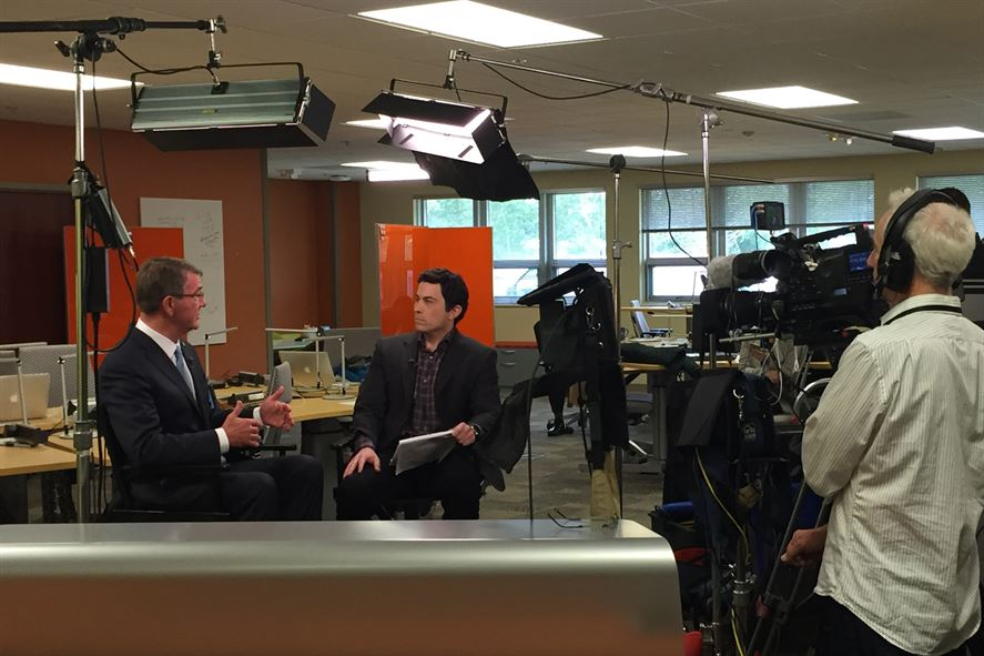 Defense Secretary Ash Carter conducts an interview with CNBS's Josh Lipton