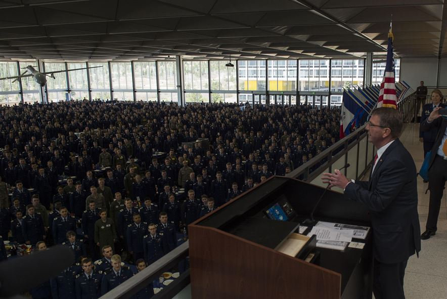 Defense Secretary Ash Carter greets U.S. Air Force Academy cadets from the staff tower