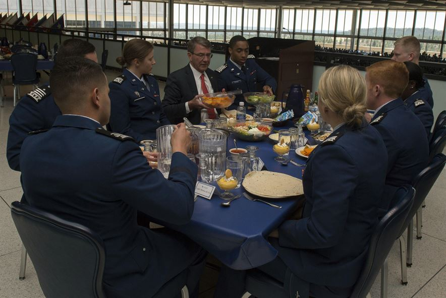 Defense Secretary Ash Carter joins U.S. Air Force Academy cadets for lunch