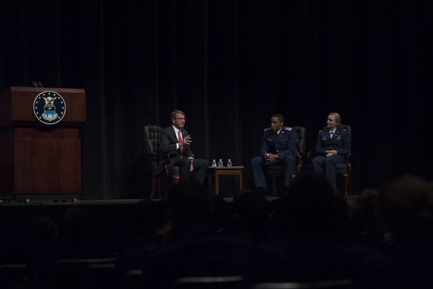 Defense Secretary Ash Carter answers questions posed by U.S. Air Force Academy cadets