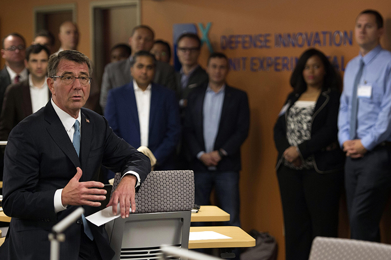 Defense Secretary Ash Carter speaking with Defense Innovation Unit Experimental employees.