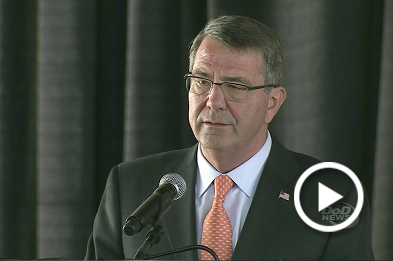 Screen grab of A1C Jose Gonzalez giving an introduction to a Defense Secretary Ash Carter video.