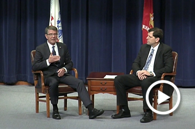 Screenshot of Defense Secretary Ash Carter making remarks and taking questions from students.