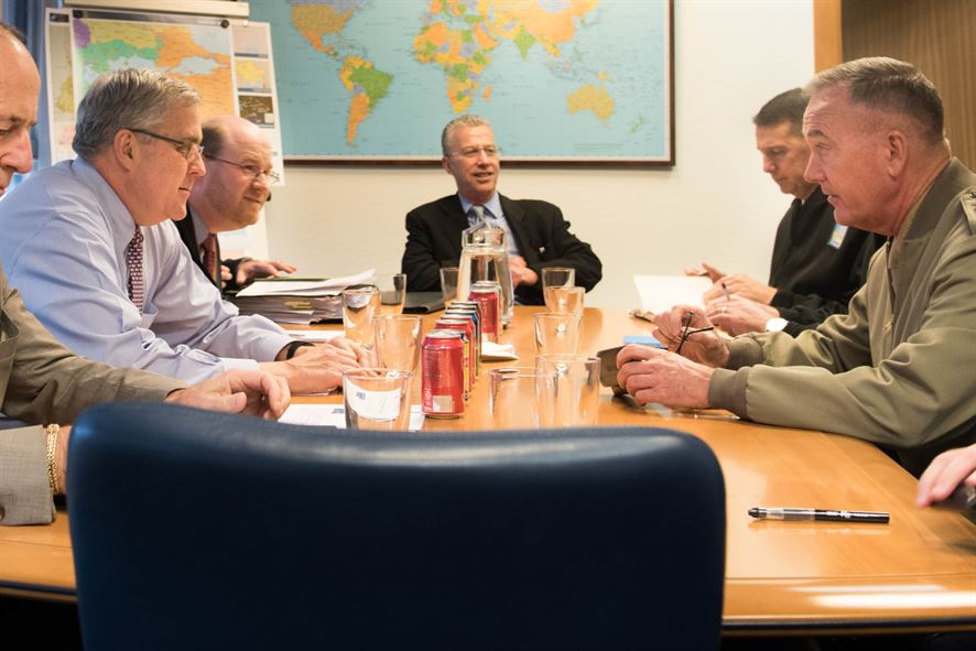 Marine Corps Gen. Joe Dunford, chairman of the Joint Chiefs of Staff, meets with U.S. Ambassador to NATO Douglas E. Lute