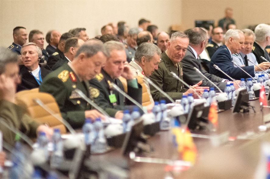 Marine Corps Gen. Joe Dunford, center, chairman of the Joint Chiefs of Staff, participates in the NATO Military Committee/Chiefs of Defense Session.