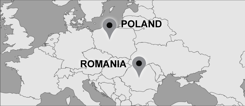 Travel map with pins marking Romania and Poland