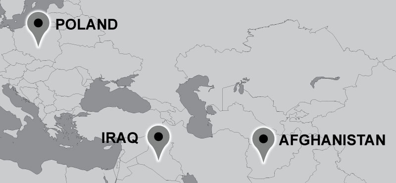 Map of Carter travel locations: Poland, Iraq, Afghanistan.