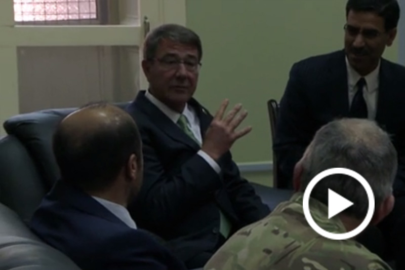 Screen grab of Defense Secretary Ash Carter speaking with foreign leaders.