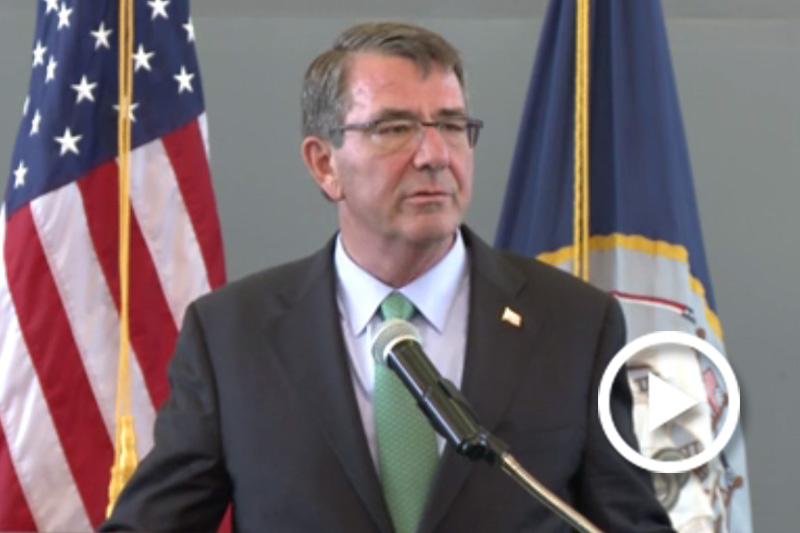 Defense Secretary Ash Carter speaking at a podium.