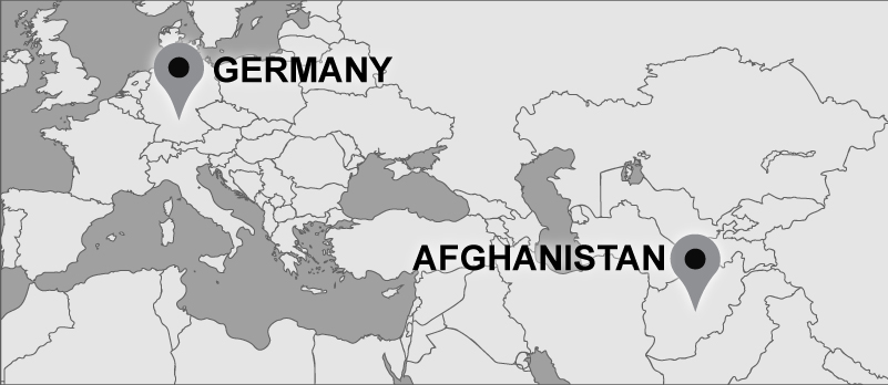 Map showing markers in Afghanistan and Germany.