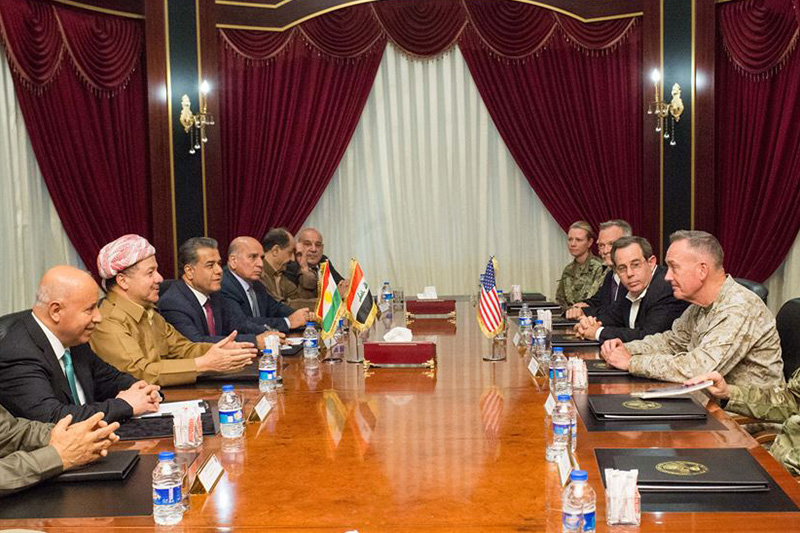 Marine Corps Gen. Joe Dunford, chairman of the Joint Chiefs of Staff, meets with Massoud Barzani, president of Iraq's Kurdistan region.