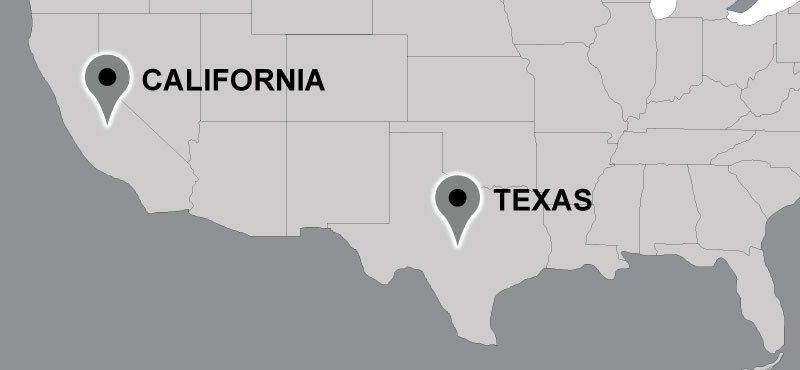 Map of Carter travel locations: California, Texas.