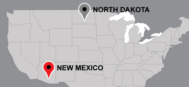 Map of Carter travel locations: North Dakota, New Mexico.