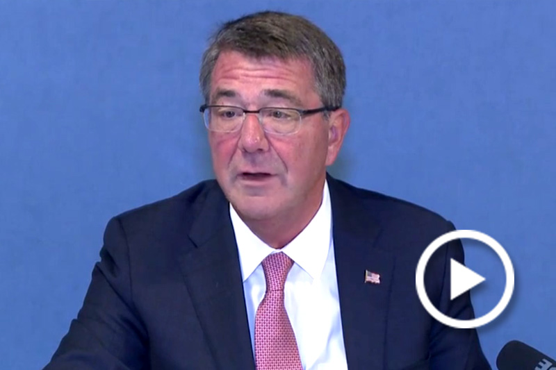 Screen grab of Defense Secretary Ash Carter giving a speech.