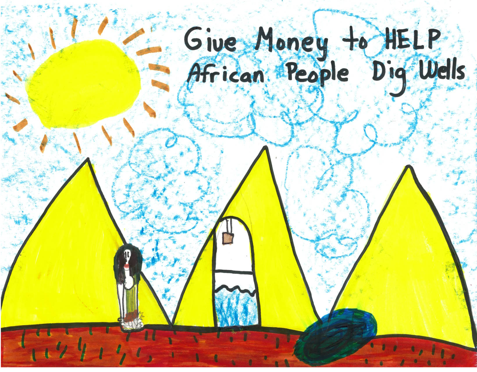 A children's drawing of a lady by the pyramids of Africa standing next to a well.