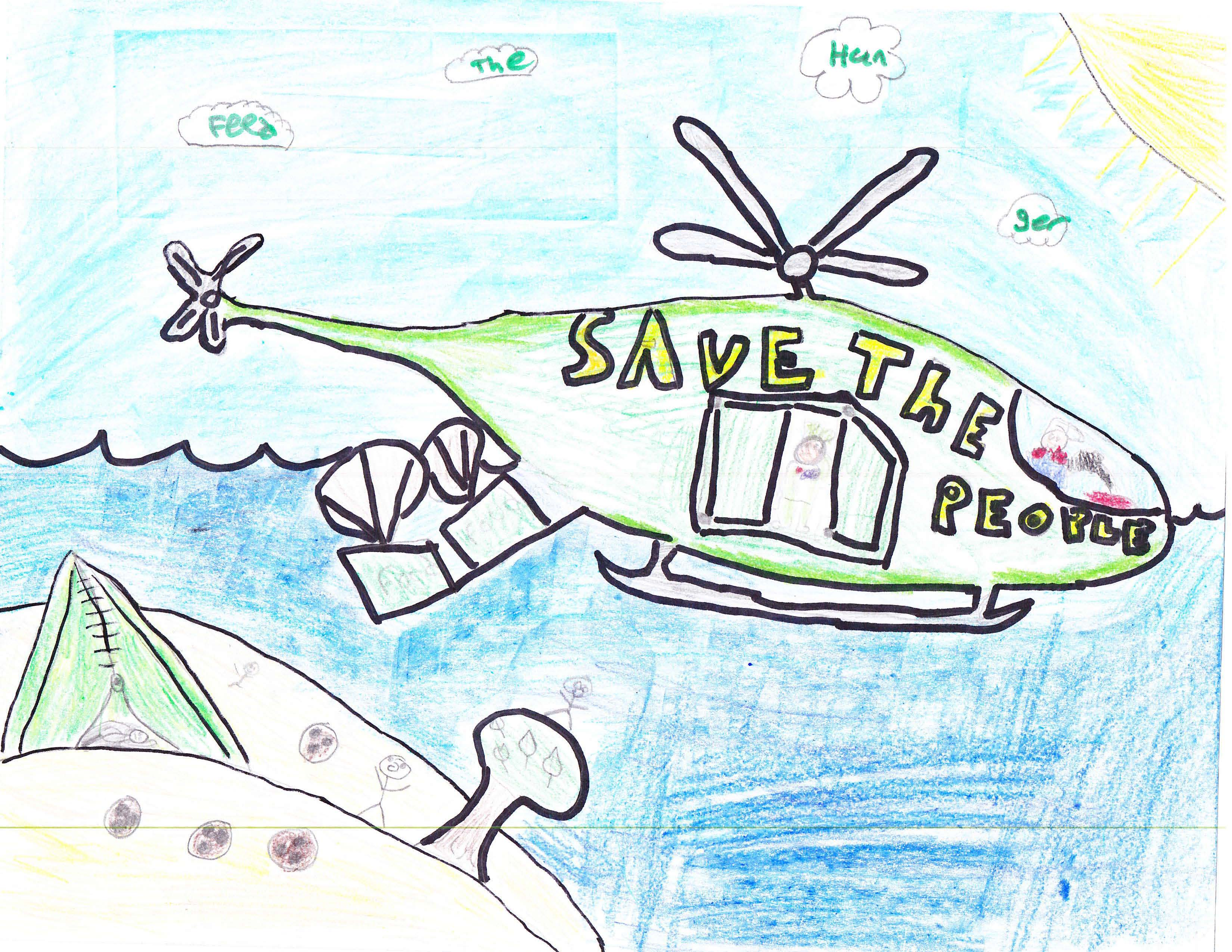 A children's drawing of a helicopter dropping food and supplies to the people below.