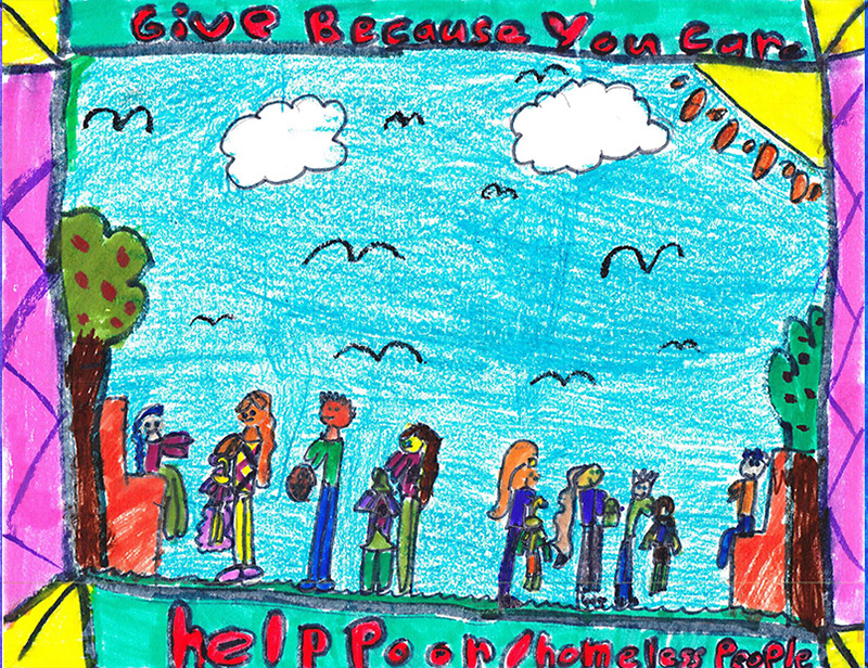 Children's drawing of people at a park lining up to give donations to homeless people.