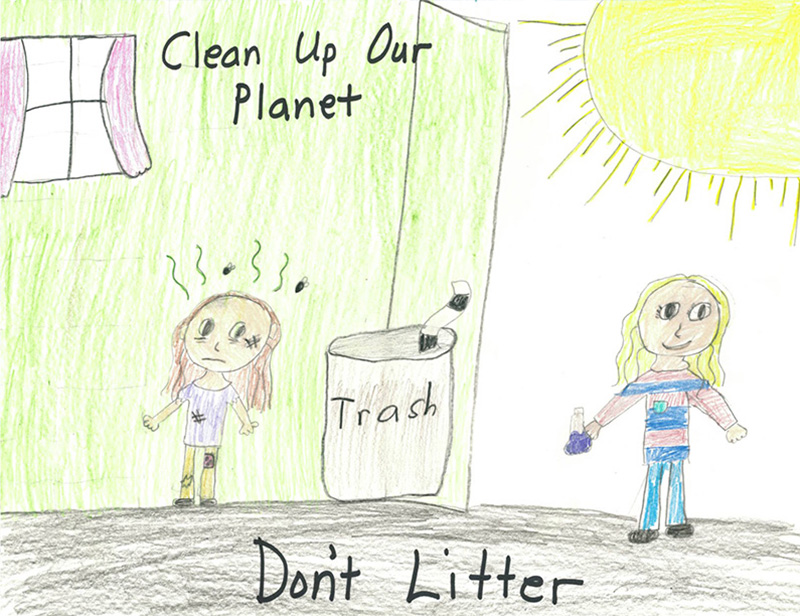 A children's drawing of two girls in the sunshine by a house. One is clean and happy and throwing away litter, the other is sad and dirty.