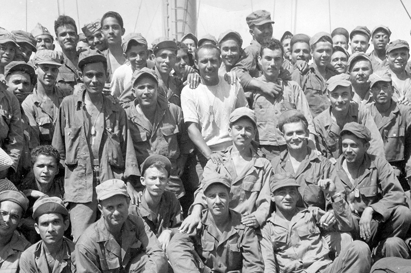 Members Of The All Puerto Rican 65th Infantry Regiment Known As Borinqueneers Pose For A Photo Aboard USNS Marine Lynx While Preparing To Leave
