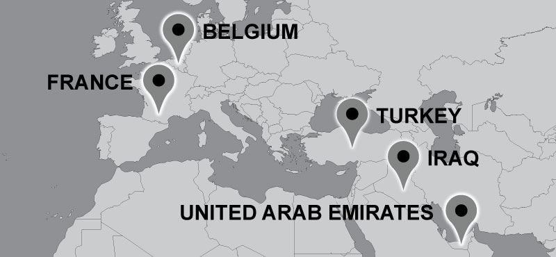 Map of Carter travel locations: Turkey, Iraq, United Arab Emirates, France, Belgium.