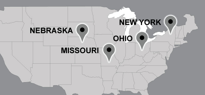 Map of Carter travel locations: New York, Missouri, Nebraska, Ohio.