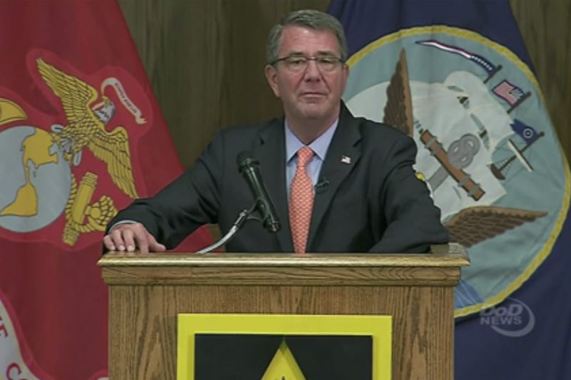 Screen grab of Defense Secretary Ash Carter speaking at a podium.