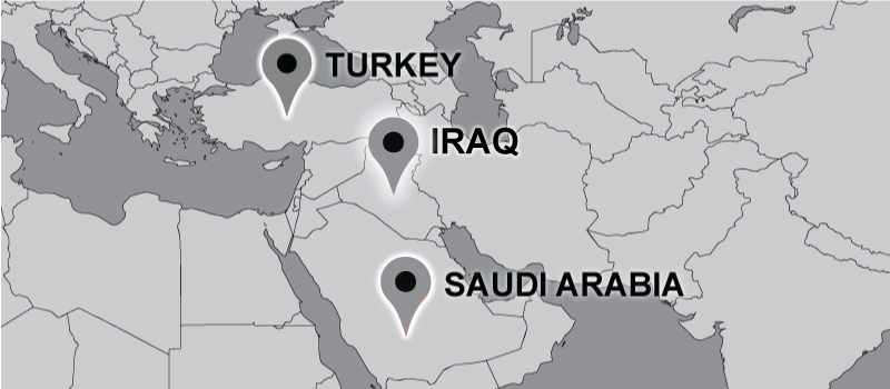 Travel map with pins on Turkey, Saudi Arabia, and Iraq