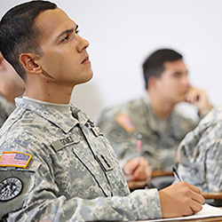Soldiers are briefed on GoArmyEd programs available through Tuition Assistance benefits at U.S. Army Human Resources Command, Fort Knox, Ky., Sept. 20, 2016.