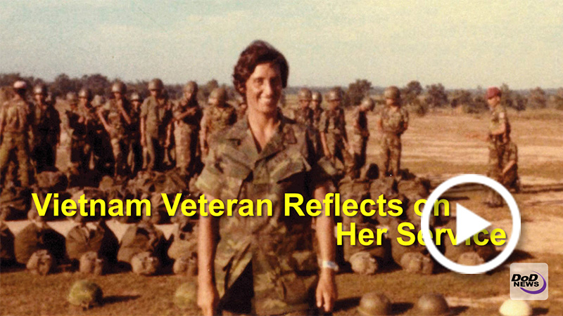 Screen grab of a graphic with the title: Vietnam Veteran Reflects on Her Service.