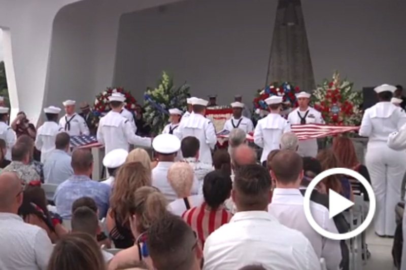 Screen grab of an interment ceremony was held on Dec. 7, 2016, at the USS Arizona Memorial for two crew members who had survived the Pearl Harbor attacks aboard USS Arizona..