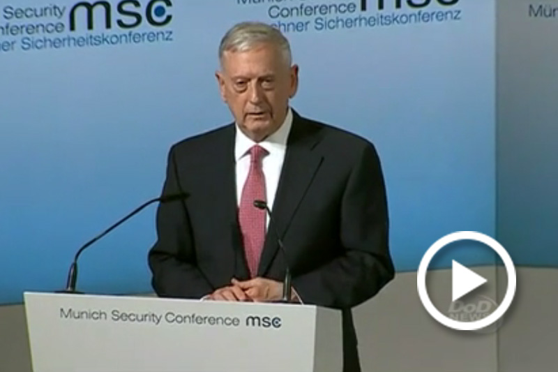 Screen grab of Defense Secretary Jim Mattis briefing reporters.