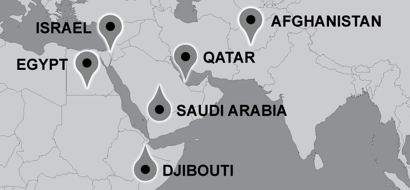 Map of Carter travel locations: Saudi Arabia, Egypt, Israel, Qatar and Djibouti.
