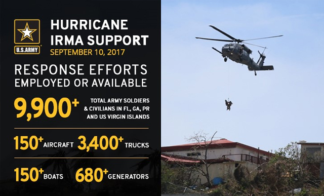 Infographic showing troop distribution during Hurricane Irma.