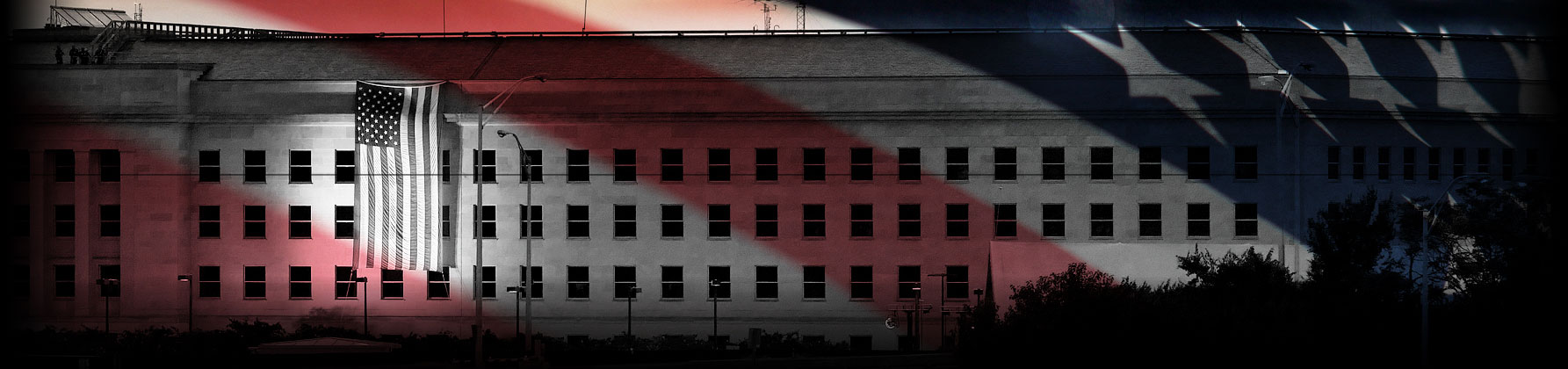 a photograph of the Pentagon, overlaid with the American flag