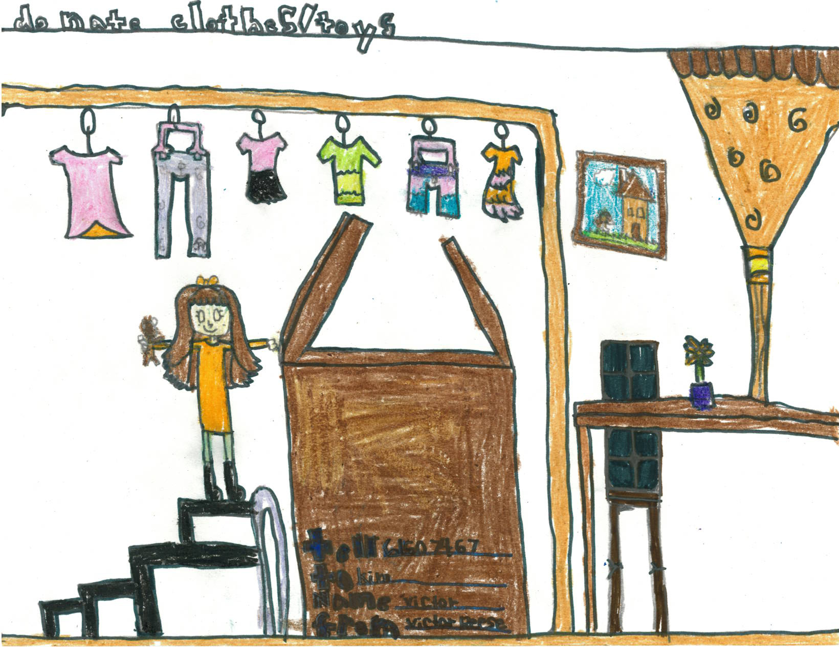 Children's drawing of a girl in a closet, with clothes hanging on the rack. It asks for clothing donations.