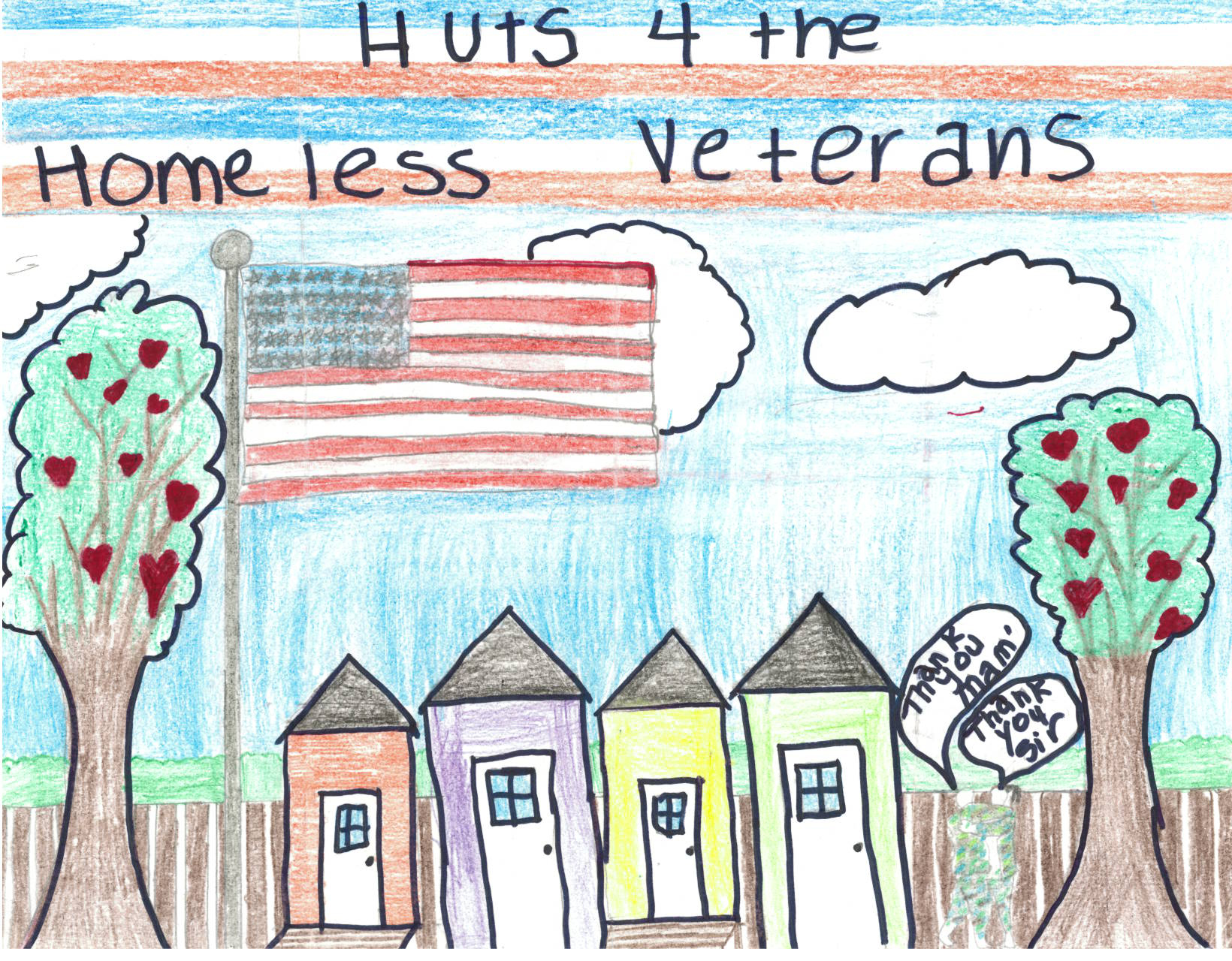 Children's drawing of homes created to house homeless veterans. On the side, two soldiers embrace and give thanks.