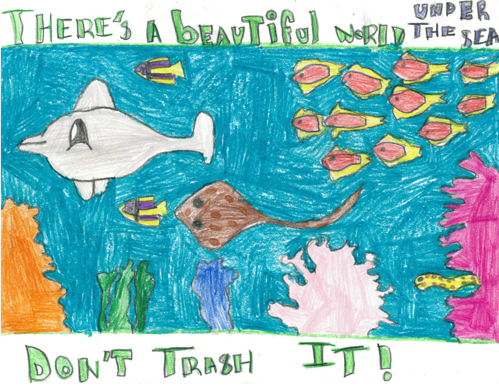 Children's drawing of an underwater landscape with sea creatures, calling for keeping the sea clean because it is beautiful.