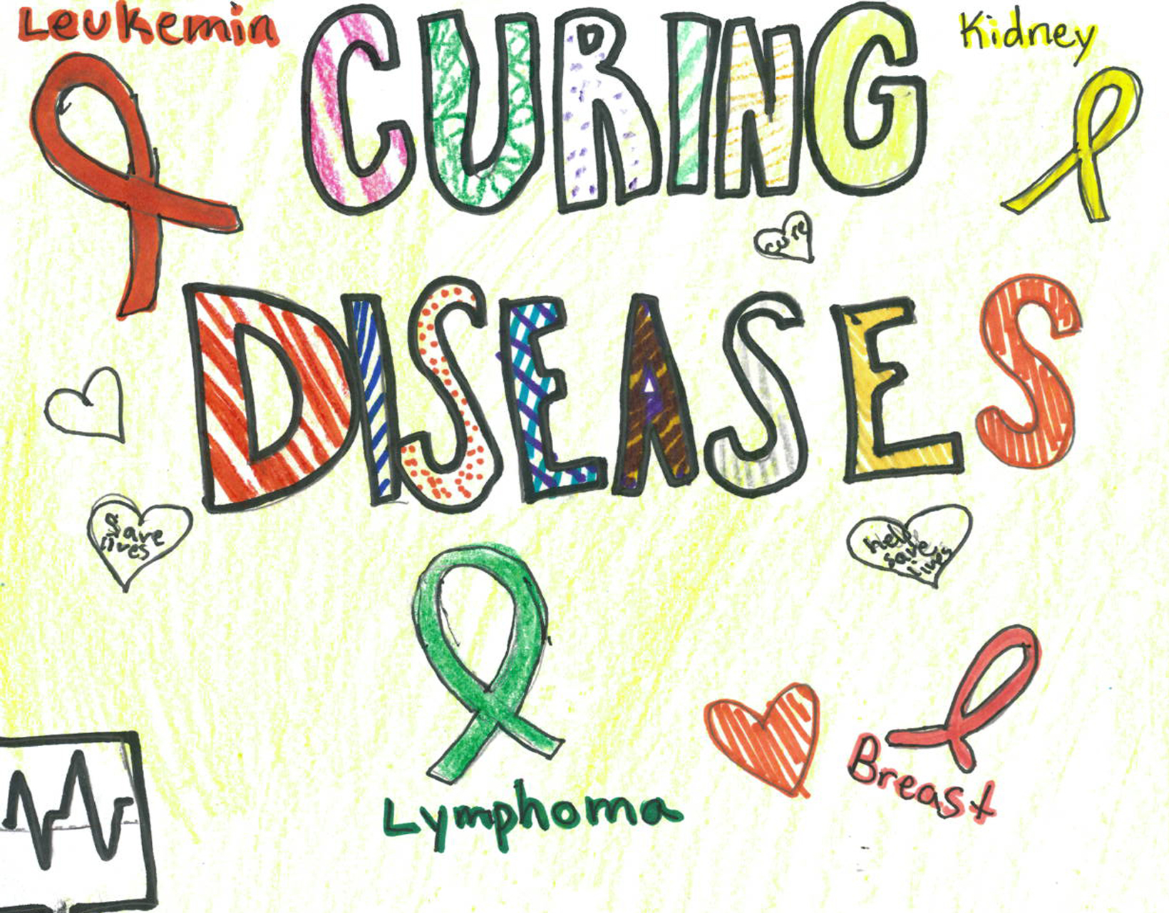 Children's drawing of a cancer survivor, making important the act of curing diseases.
