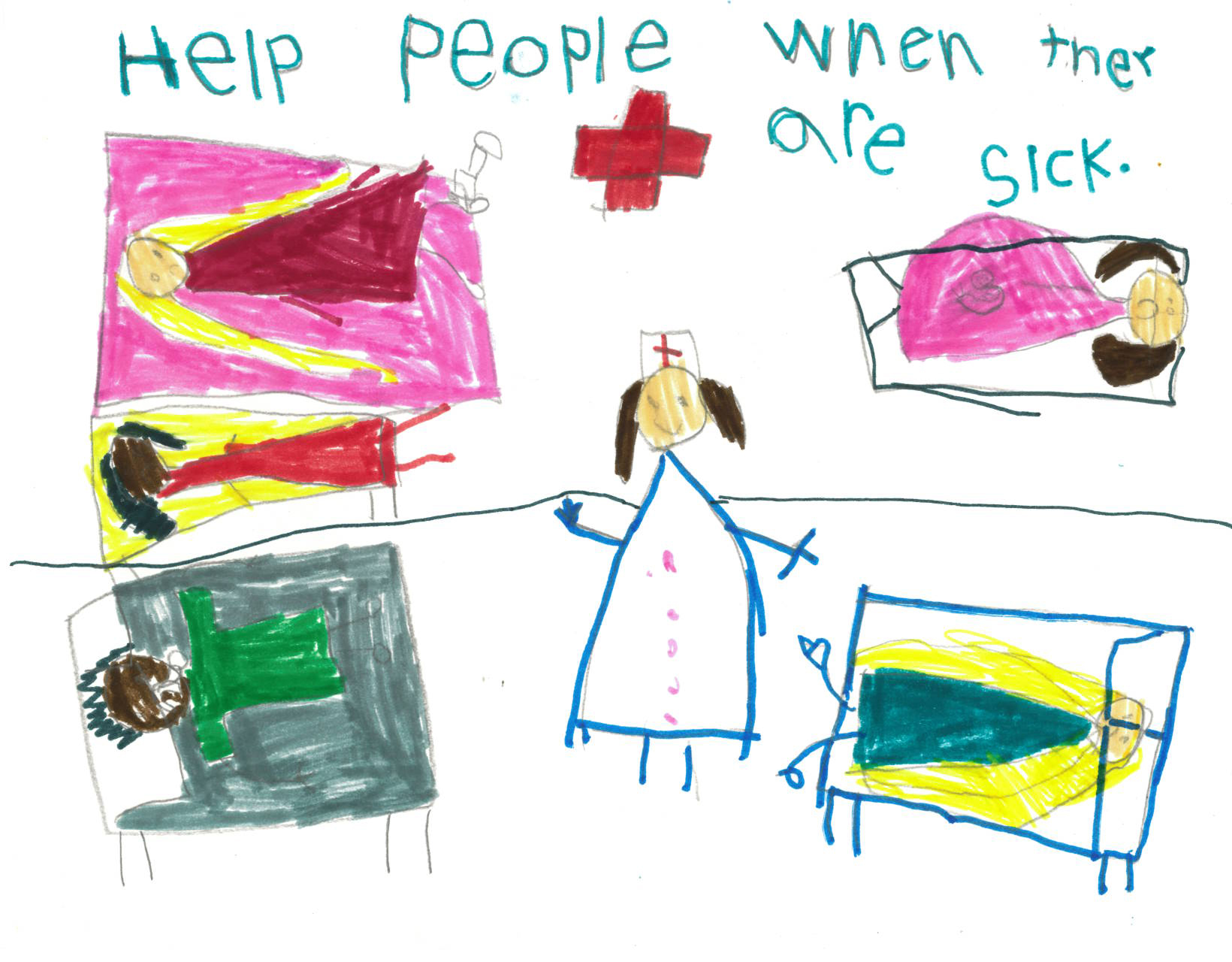 Children's drawing of a nurse surrounded byu patients in beds at a hospital.
