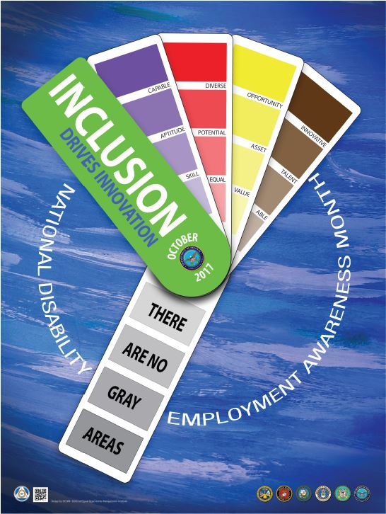 A colorful graphic displays the theme of the National Disability Employment Awareness Month observance.