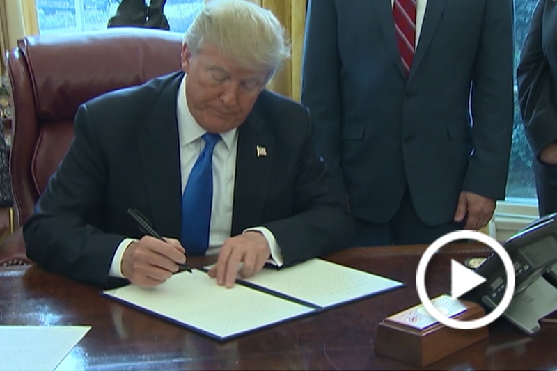 President Donald J. Trump prepares to sign the executive order at the White House