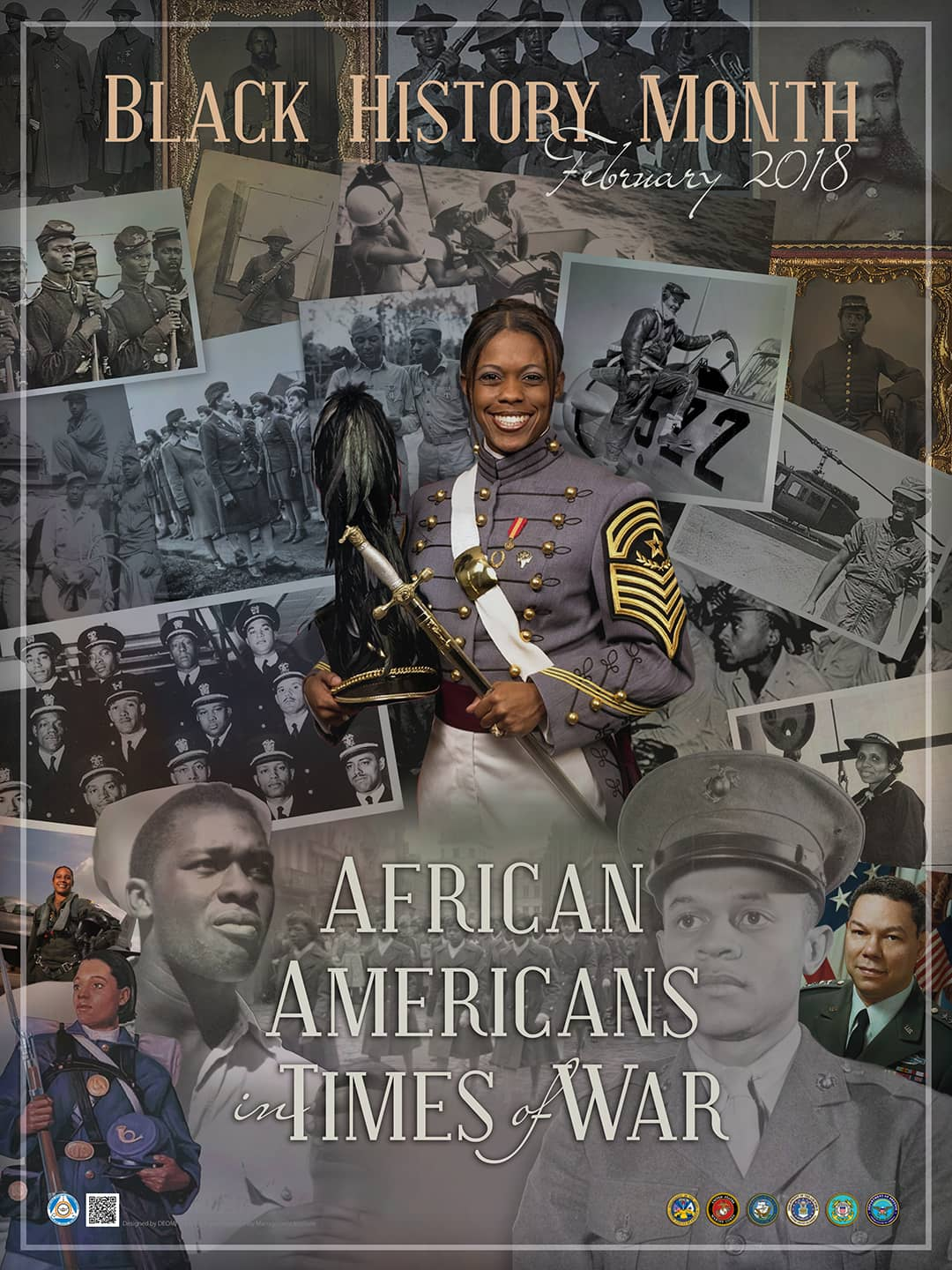 A poster displays Black History Month February 2018 with the theme: African Americans in Times of War.