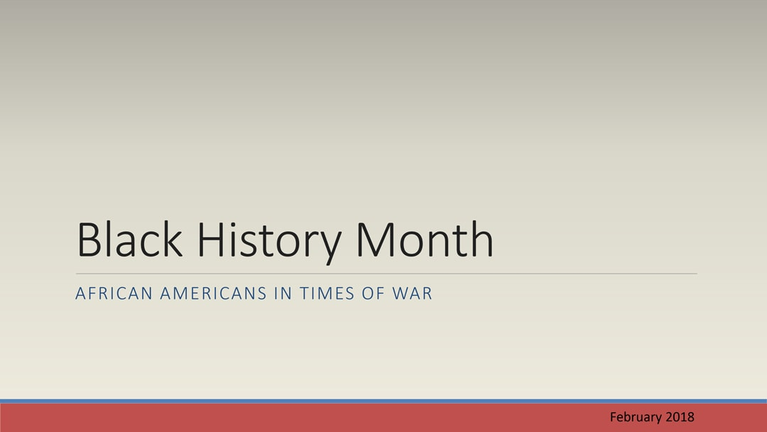 A graphic displays the title and introductory page to a National African American History Month presentation.