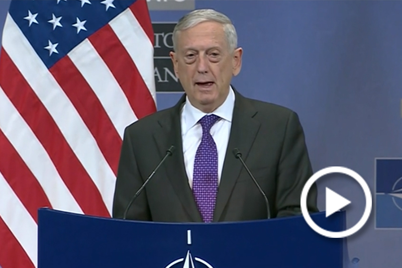 Screen grab of Mattis at NATO Headquarters